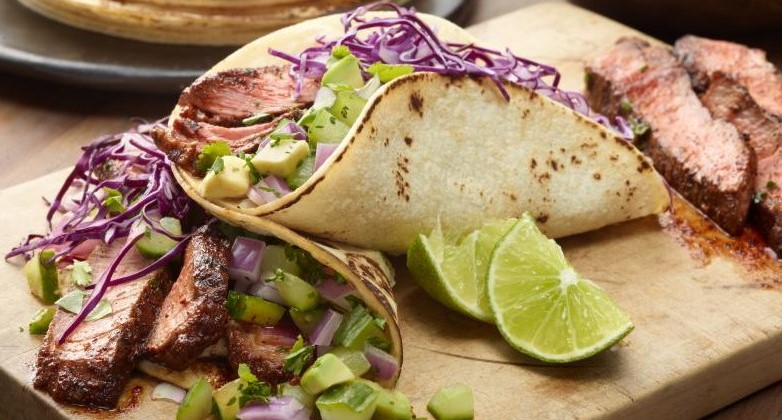 Grilled Steak Tacos with Cucumber-Avocado Salsa!