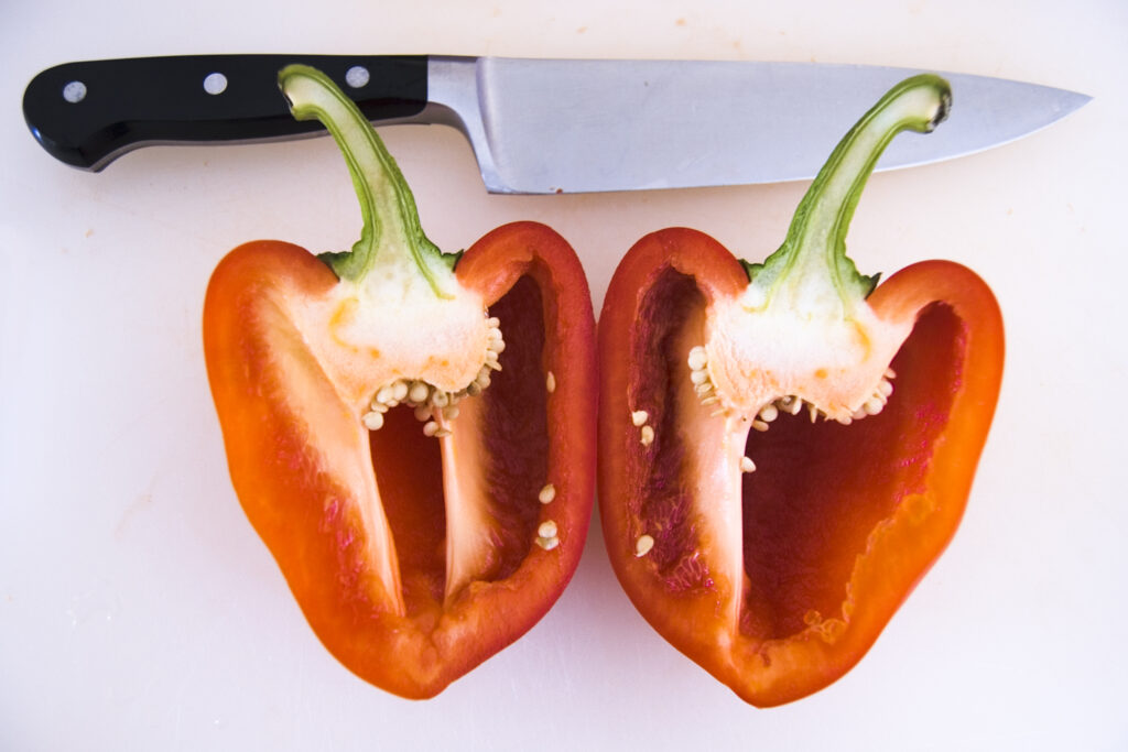 Cut the Peppers Length Ways and Remove the Seeds